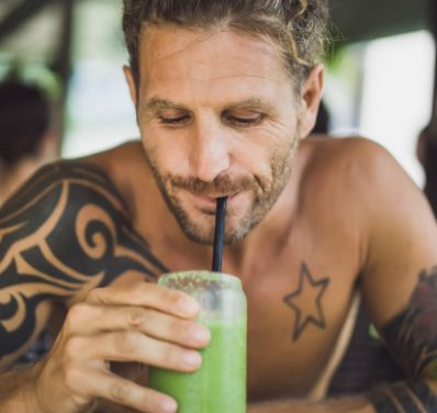 man-drinks-healthy-smoothies